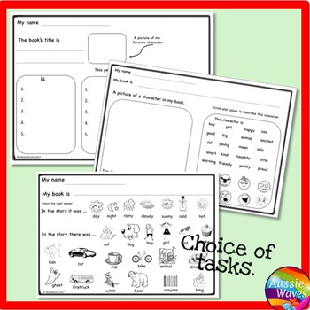 Reading Responses for Books Literacy Activities for Centers Grades K-2