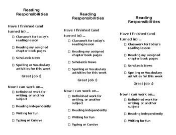Reading Responsibilities Checklist (bookmark)