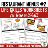 Reading Restaurant Menus #2 Worksheets