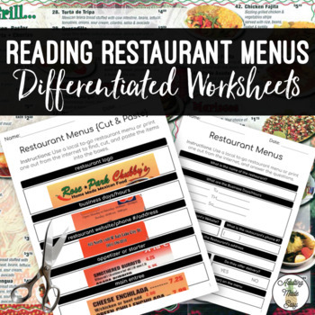 Reading Restaurant Menus Life Skills Worksheets {Cut & Paste} Special Education