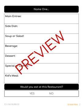 Reading Restaurant Menus Life Skills Worksheets {Cut & Paste}