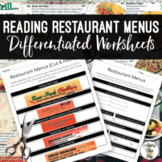Reading Restaurant Menus Worksheets
