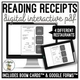 Reading Restaurant Receipts Digital Activity