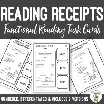 Reading Restaurant Receipts Task Cards Life Skills Vocational
