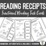 Reading Restaurant Receipts Task Cards Life Skills Vocational