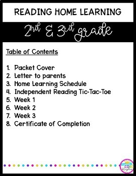 Reading Review - 3 Week Home Learning Packet for 2nd Grade & 3rd Grade