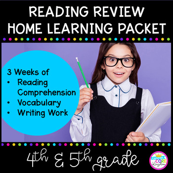 Reading Review - 3 Week Distance Learning Packet for 4th Grade & 5th Grade
