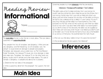 Reading Review Flipbook {Informational}