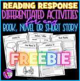 Free Reading Response Activities For Any Book, Novel or Short Story