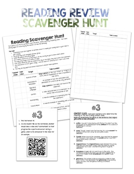 Reading Test Prep: Scavenger Hunt Activity for Middle School