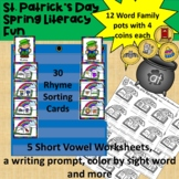 March CVC Word Centers and Worksheets with a Writing Prompt & Art Project