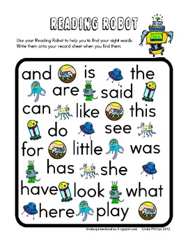 Reading Robot Sight Word Search