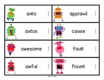 Reading Robot o spelled au and aw