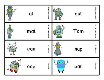 Reading Robots cvc and cv words