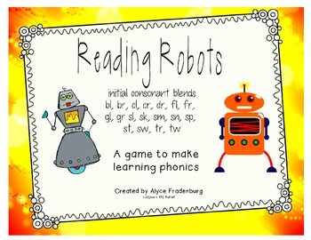 Reading Robots initial blends bl br cl cr dr fl fr gl gr s