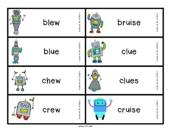 Reading Robots oo sound spelled ew as in chew, ue as in blue and ui as in fruit