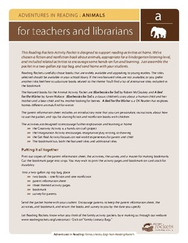 """Reading Rockets Literacy Activity Animals """"Blueberries for Sal"""" by McCloskey"""