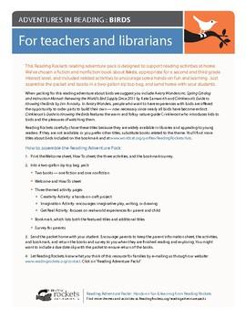 "Reading Rockets Literacy Activity Birds ""Renewing the World's Bird Supply"""