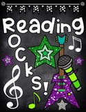 Reading Rocks Chalkboard Binder Cover for Rock Star Theme