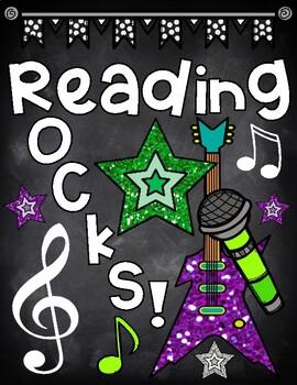 Reading Rocks Chalkboard Binder Cover for Rock Star Theme
