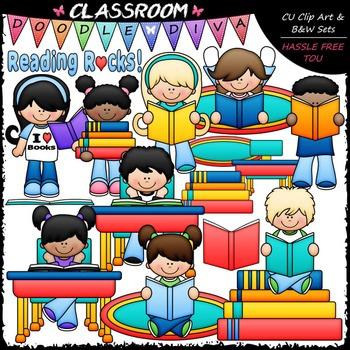 Reading Rocks Kids - Clip Art & B&W Set