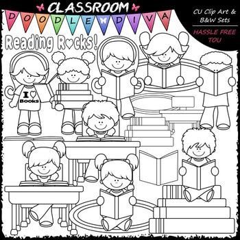 Reading Rocks Kids - Clip Art & B&W Set