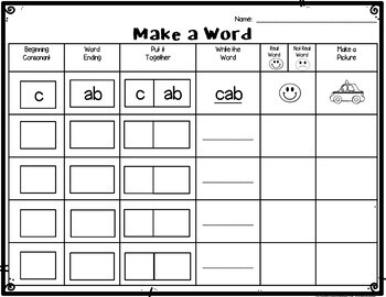 Reading Rods Make A Word Worksheets