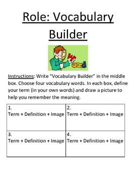 Reading Roles: Vocabulary Builder