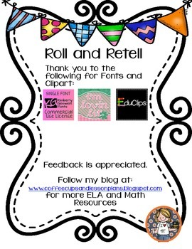 Reading Roll and Retell Freebie