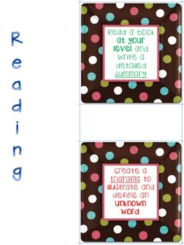 Reading Roll and Write Dice - Literacy Center