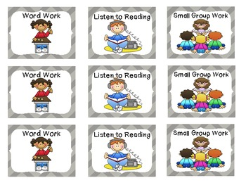 Reading Rotation Choice Cards (Chevron Gray)