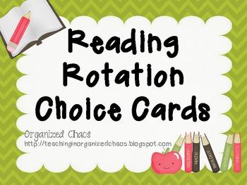 Reading Rotation Choice Cards (Chevron Green)