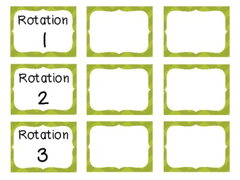 Reading Rotation Choice Cards (Chevron Green)