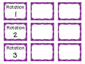 Reading Rotation Choice Cards (Chevron Purple)