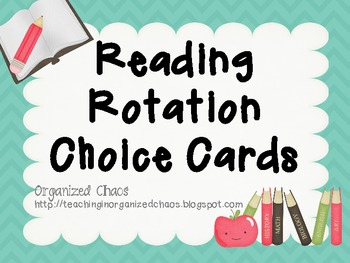 Reading Rotation Choice Cards (Chevron Teal)