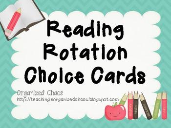 Reading Rotation Choice Cards (Chevron Teal)