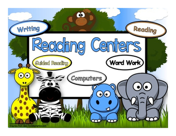 Reading Rotation Powerpoint for 5 Centers & Guided Reading Jungle Animals