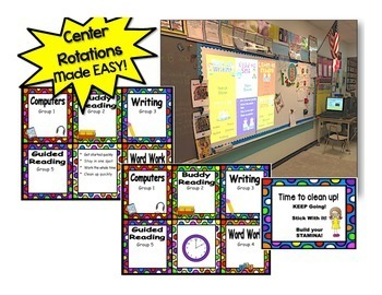 Reading Rotation Powerpoint for Centers & Guided Reading Bright Dots Design