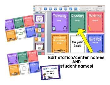 Reading Rotation Powerpoint for Centers & Guided Reading Shiny Glitter Design