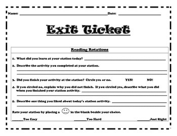 Reading Rotations Exit Ticket