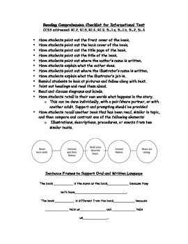 Reading Routine for Literature and Informational Text with Sentence Frames