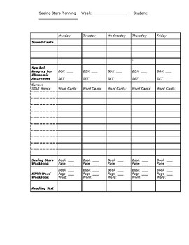 Reading SEEING STARS Fill-in Planning Sheet