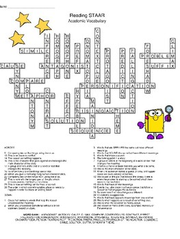 Reading STAAR Academic Vocabulary Crossword Puzzle