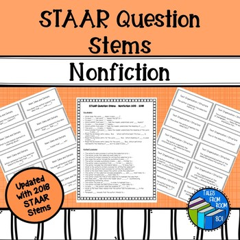 """STAAR """"like"""" Reading Question Stem Cards - Nonfiction - Grades 6-8"""