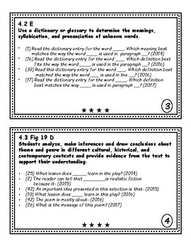 Reading STAAR Question Stems 2017