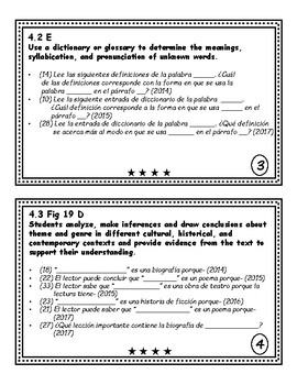 Reading STAAR Question Stems 2018 *Spanish*