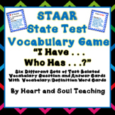 """Reading STAAR / State Test """"I Have . . . Who Has?"""" Vocabulary Game"""