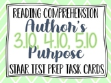 Reading STAAR Test Prep Task Cards: Author's Purpose Grades 3-5 Updated TEKS!