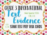 Reading STAAR Test Prep: Text Evidence Task Cards, Grade 3