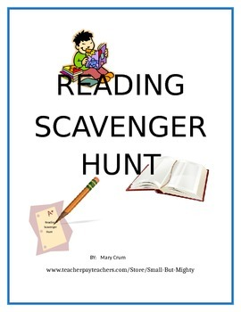 Reading Scavenger Hunt (summer reading, Daily 5, enrichmen